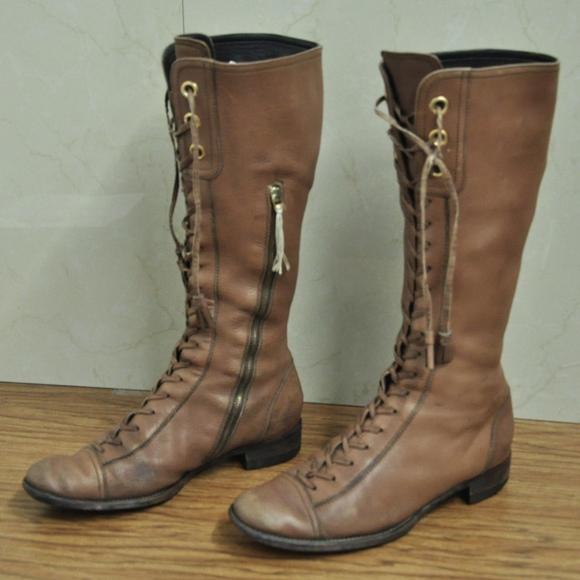 d614cdbea084 Miu Miu Boots BROWN Leather Tall Lace Up Boots. M 5a6416c98290af3c5d3d40cb